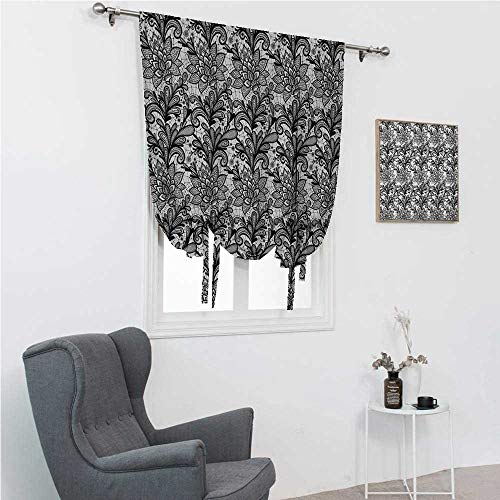 """GugeABC Roman Shades Black and White Kids Bedroom Windowsill Vintage Victorian Lace Style Plants Leaves Ornamental Blossom Pattern 42"""" Wide by 72"""" Long Black White"""