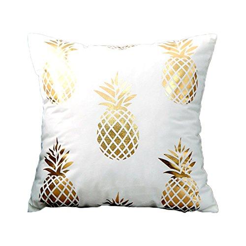 BIGBOBA Modello Forma di Ananas d'oro Federe Cuscini Divano di Cotone Divano Letto Home Bed Decor,Bianco,45 * 45cm