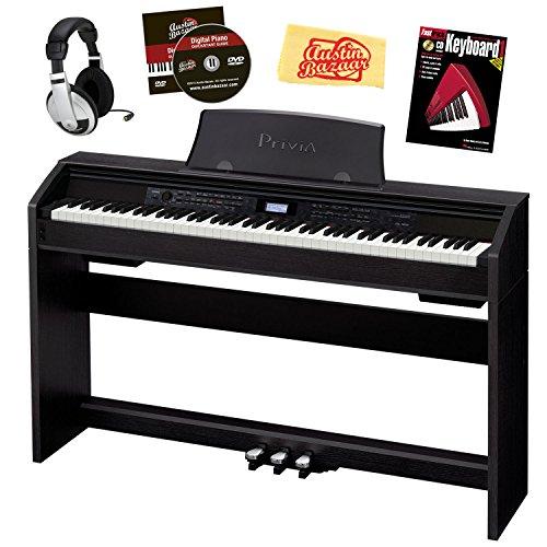 Casio Privia PX-780 88-Key Digital Piano Bundle with Headphones, Instructional Book, and Polishing Cloth - Black