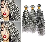Zara Hair Deep Wave Curly Grey Human Hair 3 Bundles 300g Virgin Peruvian Gray Hair Extensions Pure Color Grey Wavy Hair Weave Double Wefts Mixed Length (14 14 14 Inch)