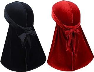 ASHILISIA 2 Pcs Velvet Wave Durag – Premium Soft Headwraps with Extra Long Tail Perfect for 360 Waves