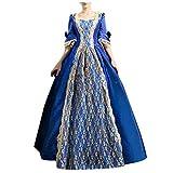 EUCoo Vestido de fiesta rococó para mujer, estilo gótico, victoriano, estilo gótico, recreación y teatro, azul, Small