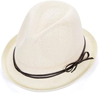 SHYPwM-Hats Straw Hat Hat Made of Straw Sun Hat in Summer Hat with A Wide Brim Foldable Straw Beach Hat Fishing Hat (Color : White, Size : 56-59CM)