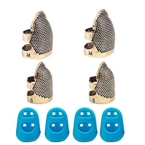 YGSAT 4 Pack Nähen Fingerhut Finger Protector 4 Stück aus Silikon,Verstellbar, für Finger Metall zum Nähen Quilten Basteln/2 Größen