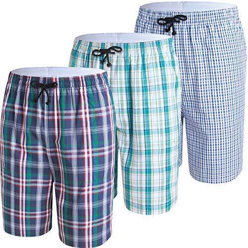 JINSHI Herren Schlafanzughosen Karierte Pyjamahose Baumwolle Nachtwäsche Relax Sleep Hose Kurz 3er Pack-01 Größe L