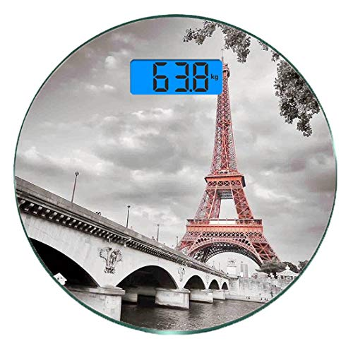 Digitale Präzisionswaage für das Körpergewicht Runde Paris-Stadt-Dekor Ultra dünne ausgeglichenes Glas-Badezimmerwaage-genaue Gewichts-Maße,Eiffelturm-Brücken-Hauptstadt Cloudscape einfarbiger selekti