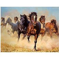 YTHSFQ 数字によるのペイント 大人 走っている馬 DIY ペイント番号キット 壁装飾 大人用ペイント 番号16 x 20インチ (フレームなし)