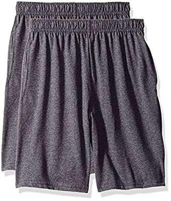 Hanes Big Boys' Jersey Short (Pack of 2), Charcoal Heather, XS