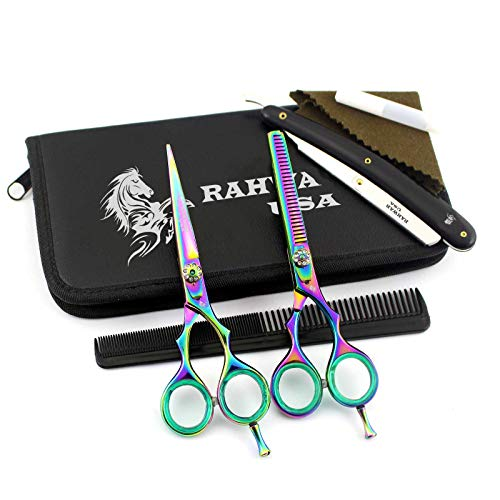 NA RAHWAR Professional Hair Cutting Shears, 5.5 440C Stainless Steel Barber Scissor Set For Hairdressing, Thining Shears For HomeBarberSalon With Comb and Kit Bag (Multi)