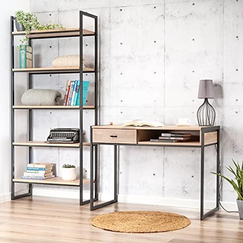 Juego de escritorio y estanterías para libros, juego de muebles de oficina, estilo industrial, escritorio con estantería para libros, escritorio con marco de metal pulverizado, mesa de ordenador