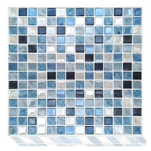 GuoQiang Zhou Vinilo autoadhesivo impermeable 3D Peel and Stick Backsplash Cocina Mosaico Azulejos Pegatinas 10PC