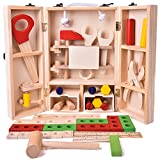 FUN LITTLE TOYS 43 PCs Kids Tool Box Wooden Toys Set, Kids Tool Kits, Boy Gift Learning Toy Construction Set Pretend Playset Gift for Kids