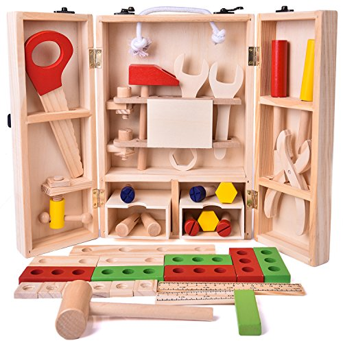 Product Image of the FUN LITTLE TOYS 43 PCs Kids Tool Box Wooden Toys Set, Kids Tool Kits, Boy Gift...