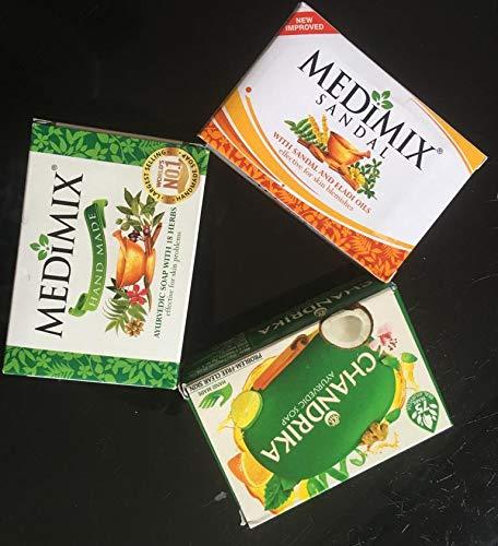 3 ayurvedische Seife Medimix Classic, Chandrika und Medimix Sandal und Eladi Oils, 2 Medimix à 125 g und Chandrika à 75 g