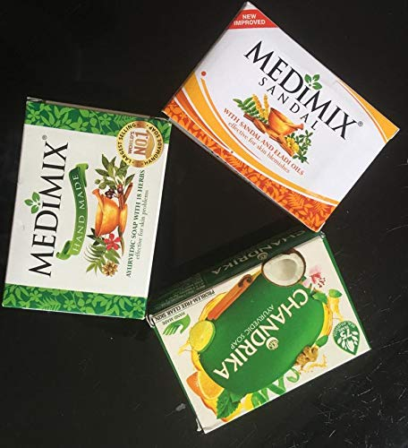 3 Savon ayurvédique Medimix classic, Chandrika et Medimix Sandal et Eladi oils, 2 Medimix de 125 Gram et chandrika de 75 Grammes