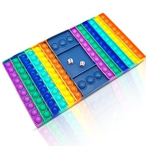 Übergröße XL-Pop Fidget Toy Antistress Spielzeug für Erwachsene und Kinder Anti Stress Sensorik Simple Dimple Fidget Toy Set Squishy Bubble viele Form (XL-Schachbrett)