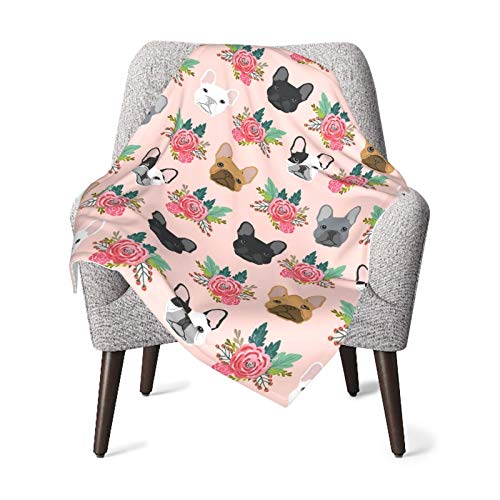 French Bulldog Flowers Florals Baby Blanket for Girls Boys Soft Warm Receiving Throw Blankets