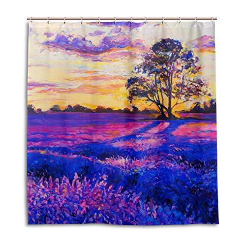 CPYang Duschvorhang, Ölgemälde, Blume, Lavendel, wasserfest, schimmelresistent, 168 x 182 cm, mit 12 Haken