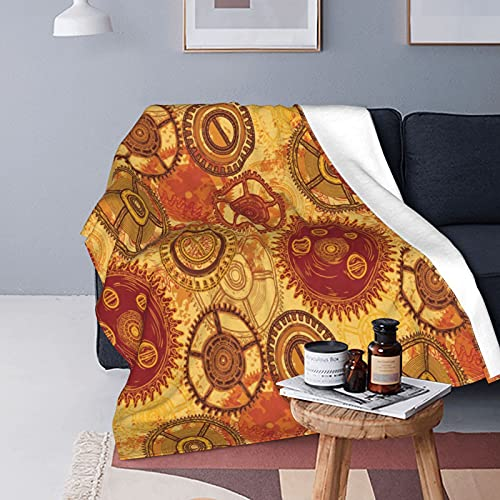 Yeuss Tela steampunk por manta de franela, patrón vintage con varios engranajes de reloj en fondo de estilo desgastado para sofá cama manta de felpa cálida de 152 x 127 cm