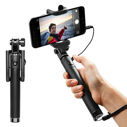 Selfie Stick, NEM [Battery Free] Wired Selfie Stick for iPhone 5s SE 6S Plus 7 Plus, Samsung Galaxy J7 S7 Edge Nexus 6p LG G5 Moto Z Droid Force Alcatel Tru Fierce Idol Dawn (Black)