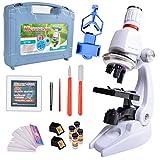 ALEENFOON Microscopio para niños de 1200 x 400 x 100 aumentos, kit de microscopio de ciencia para niños con luces LED, incluye soporte para teléfono, caja de plástico para principiantes y educación