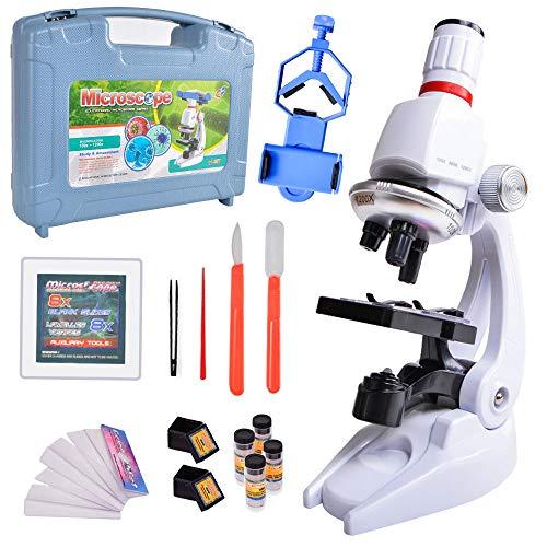 ALEENFOON Microscopio per bambini 1200x, 400x, ingrandimento 100x, kit per microscopio scientifico con luci a LED, include accessori porta telefono scatola di plastica giocattolo set per principianti