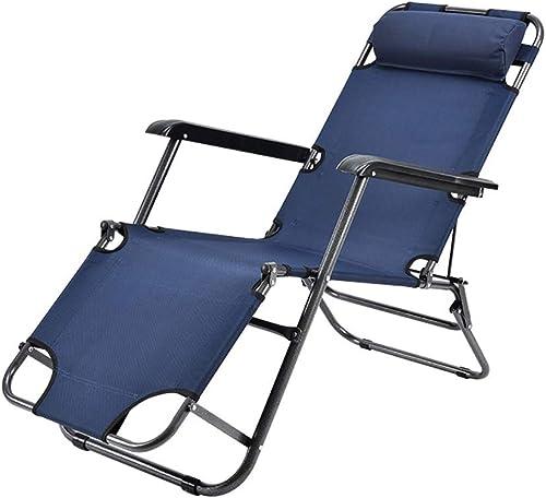 Easty Lounge Chair Chaise Pliante Multifonction Pause Déjeuner Bureau Lit Sieste Chaise Lit De Repos portable Lit Sleeping Chair Ménage épais Lounge Chair Assis Down Dual Use (Couleur   Dark bleu)