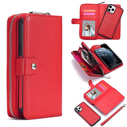 """SevenPanda für iPhone 12 Brieftaschen, [Große Kapazität] [Abnehmbar Magnetisch] 2-in-1 Ledertasche mit Reißverschluss und Handschlaufe, Ständer, Kartenhalter für iPhone 12 Pro 6.1"""" - Rot"""