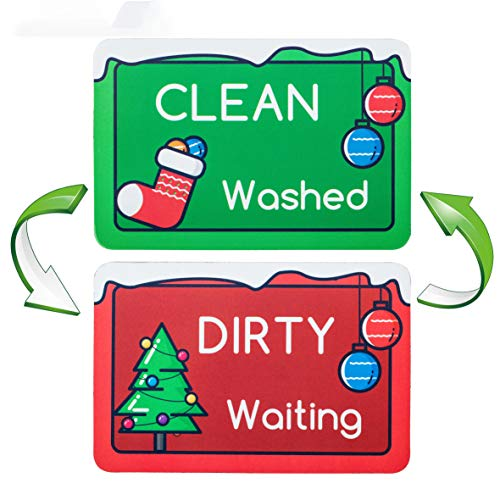 Dishwasher Magnet Clean Dirty Sign - Strongest Magnet Double Sided Flip With Metal Self-Adhesive Plate - Universal Kitchen Dish Washer Reversible Indicator