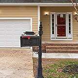 Polar Aurora Barcelona Decorative Post Mailbox Combination Stratford Heavy Duty Postal Mail Box Cast Aluminum(Black)
