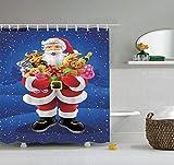 Gancho de navidad cortina de ducha de baño cortina de inodoro cortina de ducha 3d flor de baño copo de nieve cortina de ducha impermeable familia cortina de ducha de moho impermeable A4 120x180cm