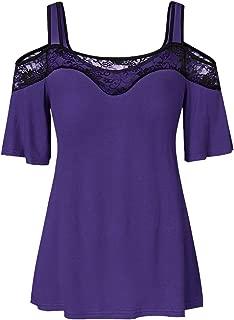 Leomodo Plus Size Cold Shoulder Lace Panel T Shirt