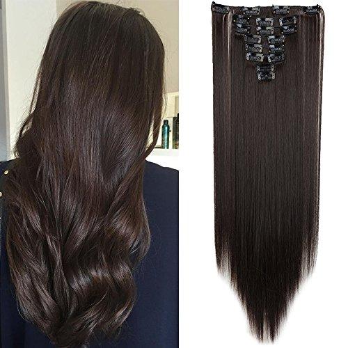TESS Clip in Extensions wie Echthaar Haarteile Dunkelbraun Haarverlängerung Kunsthaar günstig 8 Pcs 18 Clips Glatt Hair Extensions 26