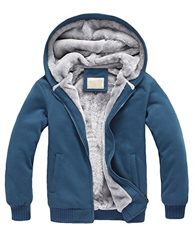 Yonglan Hombre Invierno Calentar Vellón Forrado Sudaderas con Capucha Algodón Abrigos Suave Chaquetas Outwear Tops