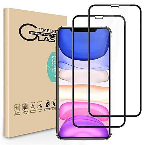 Seinal 3D Full Screen Panzerglas für iPhone 11 [2 Stück] 9H Schutzfolie Displayschutzfolie Panzerglasfolie Tempered Glass 3D Touch Hartglas Screen Protector Glass-Schwarz