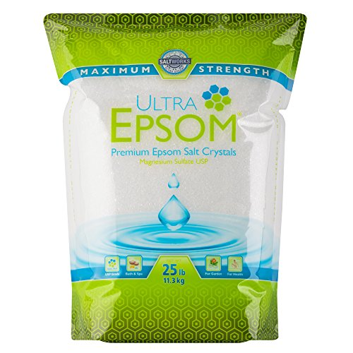 SaltWorks Ultra Epsom Premium Epsom Salt, Medium Grain, 25 Pound Bag