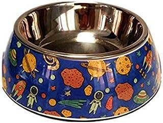 Pet Water Dispenser Universe Pattern Stainless Steel Dog Bowl Anti-Skid Pet Bowl (S) Cat Travel Drink Bottle