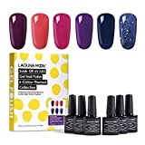 Lagunamoon Esmaltes Semipermanentes, 6pcs Kit de Uñas en Gel UV LED - Berry naughty