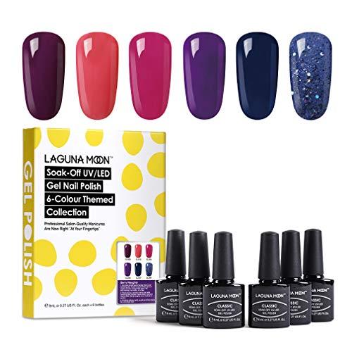 Lagunamoon Smalto in Gel UV LED, 6pcs Smalto Semipermanente per Unghie Set per Manicure - Berry naughty