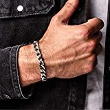 Silver Curb Chain Bracelet for Men, Handmade, Cuban Chain With Lobster Clasp, Stainless Steel, 8.25' to 8.5'