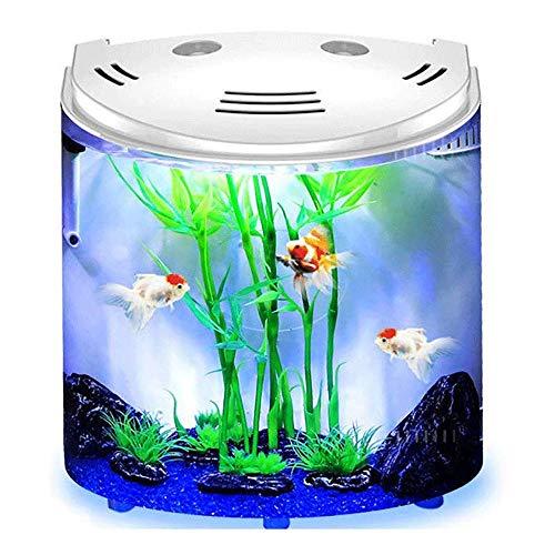 LMCLJJ LED-Temperaturanzeige Aquarium Kit mit Flip Lid, Lichtblende USB-Aufladung, Grün (Color : White)