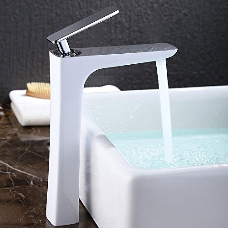 SHLONG Heies und kaltes Wasser Wasserhahn Kupfer Einlochmontage über Aufsatzbecken Hhe weie Farbe Becken Wasserhahn