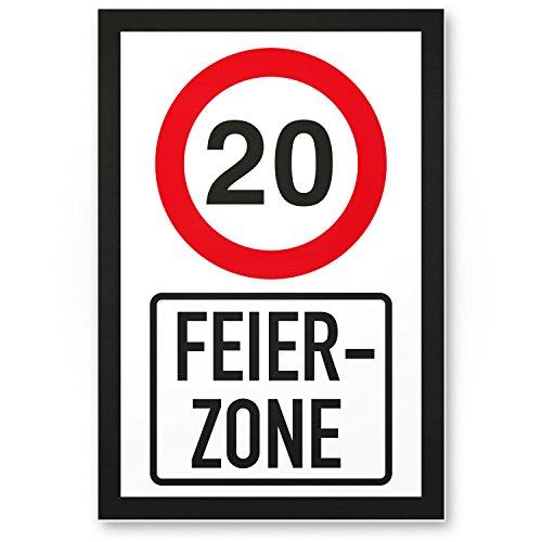 Bedankt! 20 jaar feestzone, plastic bord - Cadeau 20e verjaardag, cadeau-idee verjaardagscadeau twinsten, verjaardagsdeco/partyaccessoires/verjaardagskaart