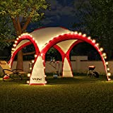 Swing & Harmonie LED Event Pavillon 3,6 x 3,6m DomeShelter Garten Pavillion inkl. Solarmodul Pavilion Designer Gartenzelt Camping Pavilon Partyzelt mit Beleuchtung (Rot)