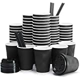 Insulated Disposable Coffee Cups with Lids & Straws 12 oz, 100 Packs - Paper Cups for Hot Beverage Drinks To Go Tea Coffee Home Office Car Coffee Shop Party