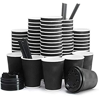 Insulated Disposable Coffee Cups with Lids & Straws 12 oz 100 Packs - Paper Cups for Hot Beverage Drinks To Go Tea Coffee Home Office Car Coffee Shop Party  Black