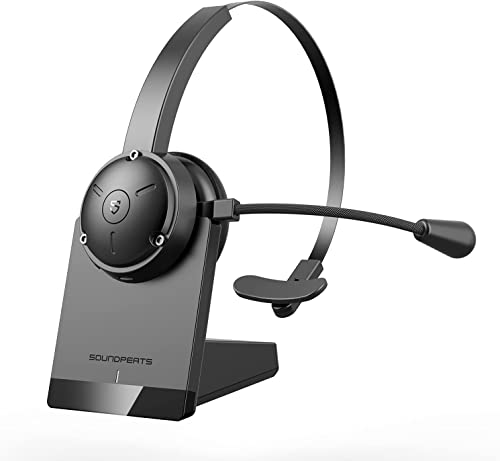 SoundPEATS Bluetooth Headset with Microphone Noise Cancelling, V5.0 Trucker Wireless Headset with Mute Mic, Charging ...
