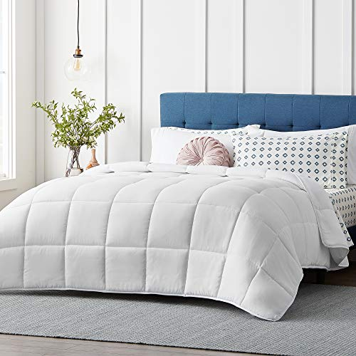 LUCIDLight-WarmthMicrofiber Comforter-Down Alternative-200 GSM - Hypoallergenic-Box Stitched-8 Duvet Loops, White, Oversized King