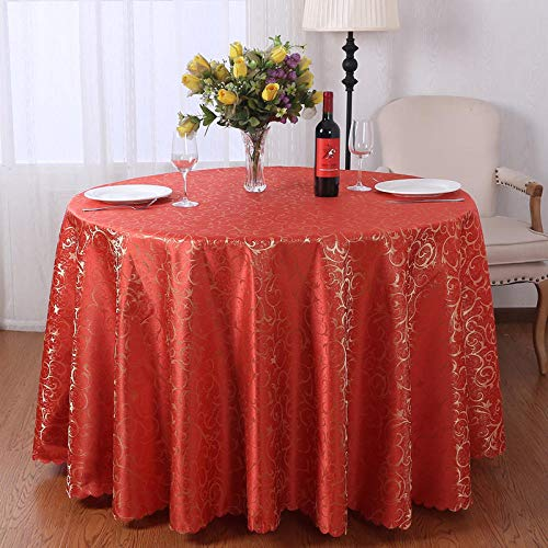Kuingbhn Manteles Mesa Antimanchas Piezas de Colore Light Luxury Home Nórdico Moderno para Cocina Comedor Bright Red Circle Diameter 360cm