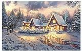 ggggx Rompecabezas de 1000 Piezas de cabaña de Navidad Thomas Kinkade, réplica de Rompecabezas, Juguetes educativos para Adultos, Regalo de cumpleaños, Juego clásico, Rompecabezas 38 * 26 cm